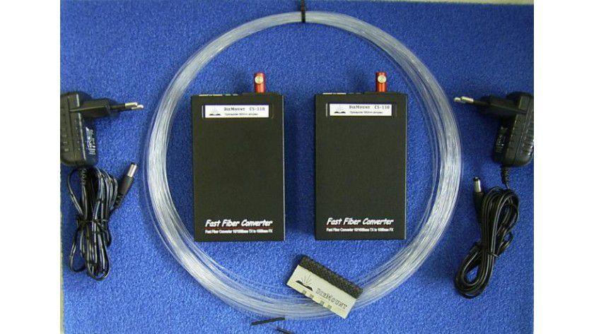 Komplettpaket: Für rund 190 Euro ist dieses Kit von DieMount erhältlich, mit dem sich eine Strecke via POF von mehr als 30 Metern realisieren lassen. (Quelle: DieMount)