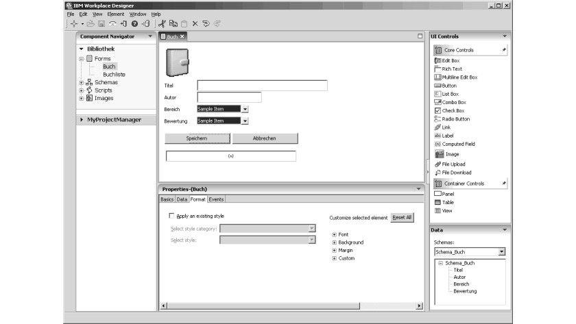Bild 1: Die Arbeitsumgebung des Domino Designer.