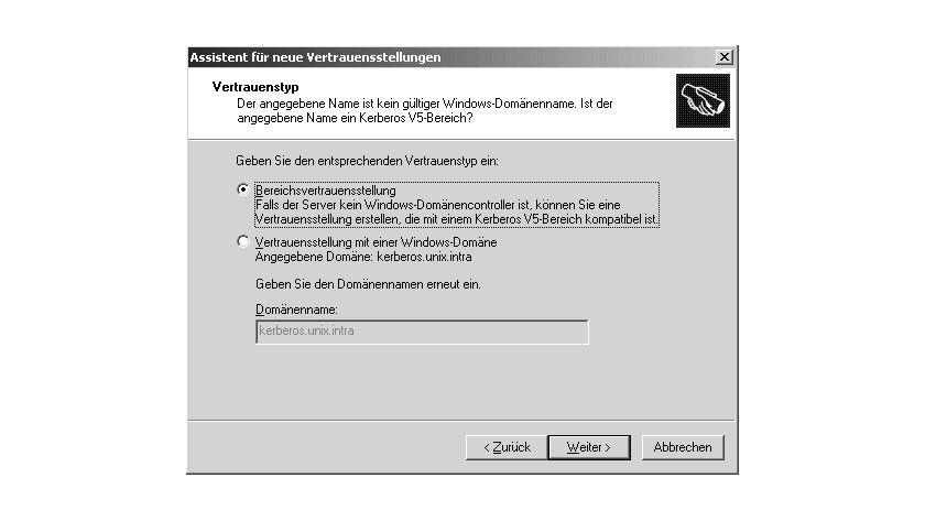 Bild 2: Der Assistent bietet bei entsprechenden Namen automatisch den Aufbau von Kerberos-Bereichsvertrauensstellungen an.