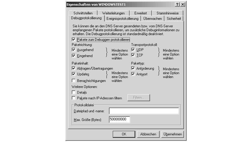 Bild 1: Die Ereigniseinträge sind direkt in das Verwaltungsprogramm DNS intgeriert.
