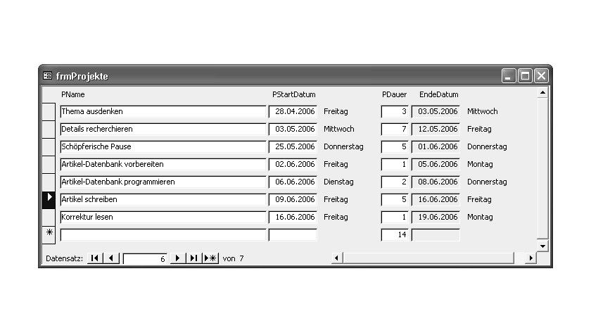 Bild 1: Berechnetes EndeDatum für Arbeitstage nach PStartDatum.