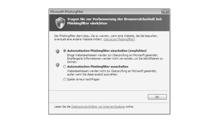 Bild 1: Die Abfrage bezüglich der Installation des Phishing- Filters bei der Installation des Internet Explorer 7.