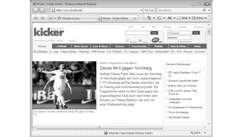 Bild 2: Der Internet Explorer 7 mit zwei geöffneten Registern und dem aktivierten Symbol für RSS-Feeds.