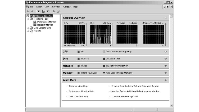 Bild 1: Die Performance Diagnostic Console des Windows Server Longhorn.