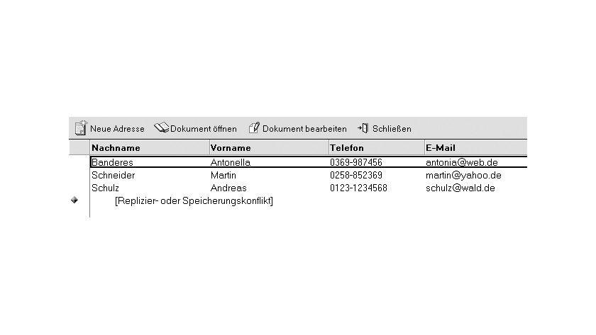 Bild 1: Dokumente, bei denen ein Replizier- oder Speicherungskonflikt erkannt wurde.