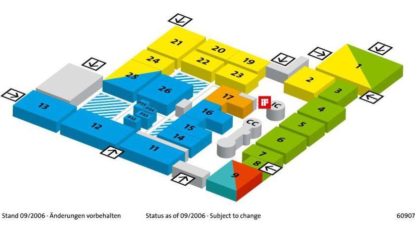 """Hallenplan: Die CeBIT 2007 mit den drei großen Schwerpunkten """"Business Processes"""" (grün), """"Communications"""" (blau), """"Digital Equipment & Systems"""" (gelb)."""