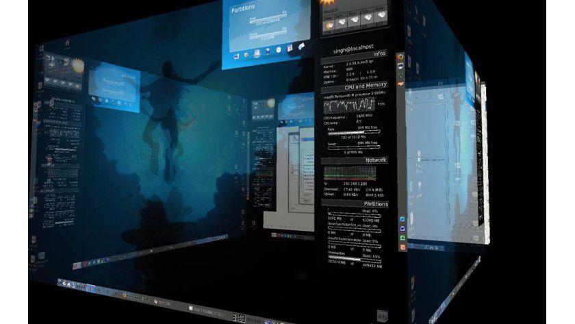3D-Effekte: PCLinuxOS 2007 kann mit der richtigen Grafikkarte erstaunliche Effekte auf den Bildschirm zaubern.