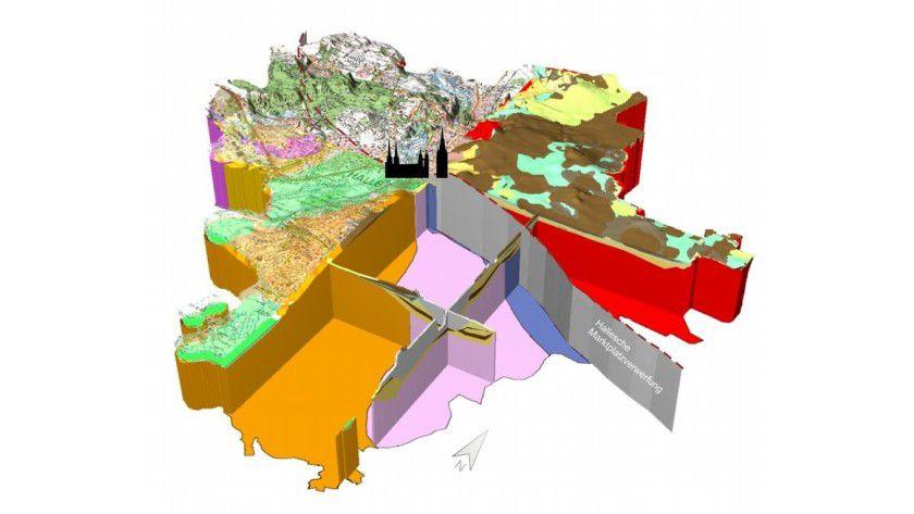 Geologisches 3-D-Modell der Stadt Halle mit dem Verlauf der halleschen Marktplatzverwerfung. Grafik: Martin-Luther-Universität, Dirk Schlesier und Peter Wycisk