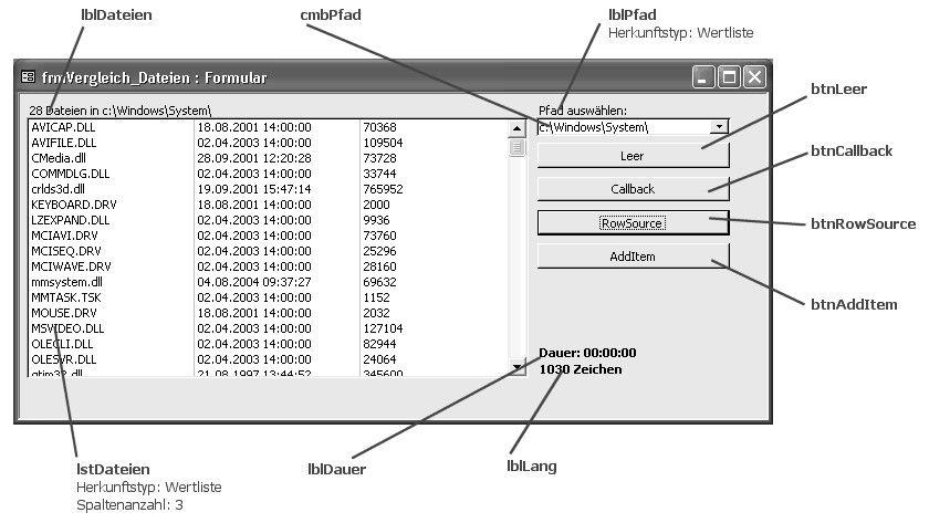 Bild 1: Formular zur Anzeige von Dateien.