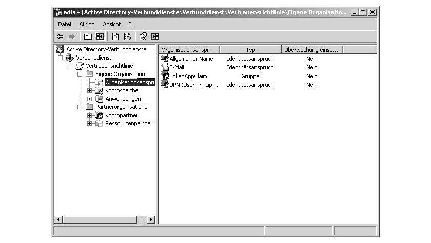Bild 3: Die Organisationsansprüche (Claims) sind gemeinsame Informationen für die Identifikation von Benutzern und Gruppen.