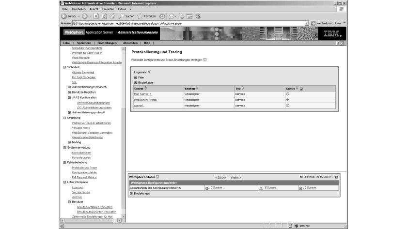 Bild 1: Die Informationen zur Protokollierung und Fehlerbehandlung beim IBM Workplace.