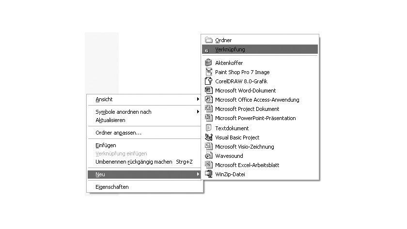 Bild 1: Einrichtung einer Startdatei für Access im Windows-Explorer.