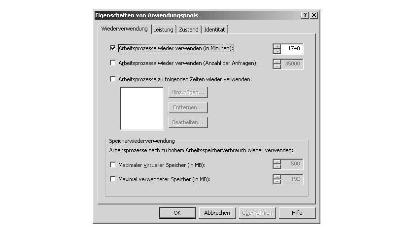 Bild 1: Das Register Wiederverwendung bei den Eigenschaften von Anwendungspools