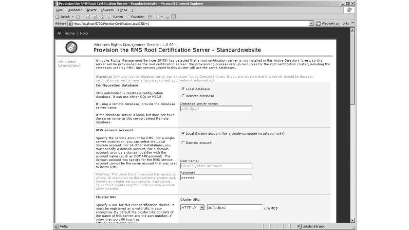 Bild 1: Die Standard- Konfigurationschnittstelle für die Windows RMS.