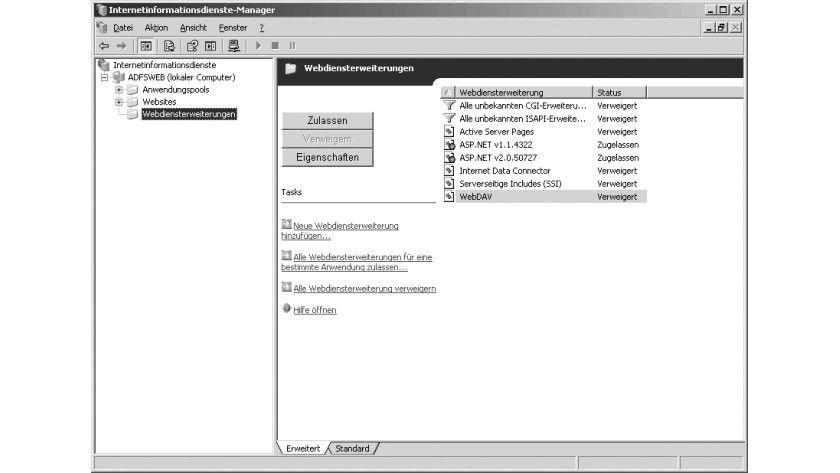 Bild 1: ASP .NET muss bei dem für die ADFS verwendeten Web- Server aktiviert sein.