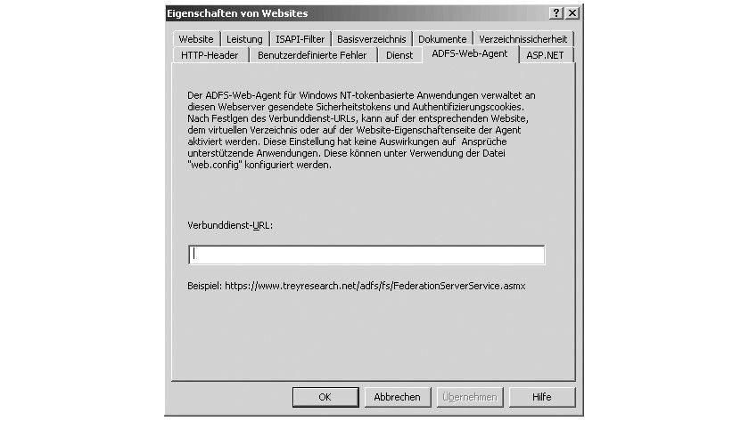 Bild 2: Bei IIS-Servern findet sich nach der Einrichtung von ADFS das Register ADFS-Web-Agent.