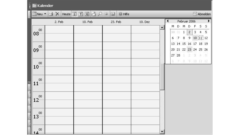 Bild 1: In der Kalenderansicht von OWA und Outlook lassen sich beliebige Tage nebeneinander anzeigen.