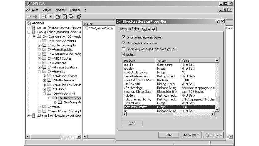 Bild 1: Mit ADSI Edit lässt sich einfach verifizieren, wie genau die anzupassenden Objekte und Attribute heißen.