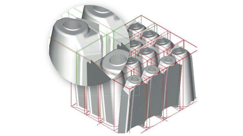 Die Befüllung in Stapeln ist eine Möglichkeit unter vielen, die PackAssistant anbietet. Diese Funktion ist besonders für dünnwandige Bauteile geeignet, wobei die Stapelung vertikal oder schräg verlaufen kann. Das Beispiel zeigt eine schräge Stapelung. Abb.: Fraunhofer SCAI