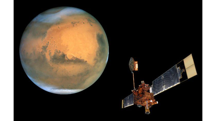 Global Surveyor: Die Sonde im Orbit um den Mars. (Quelle: Nasa)