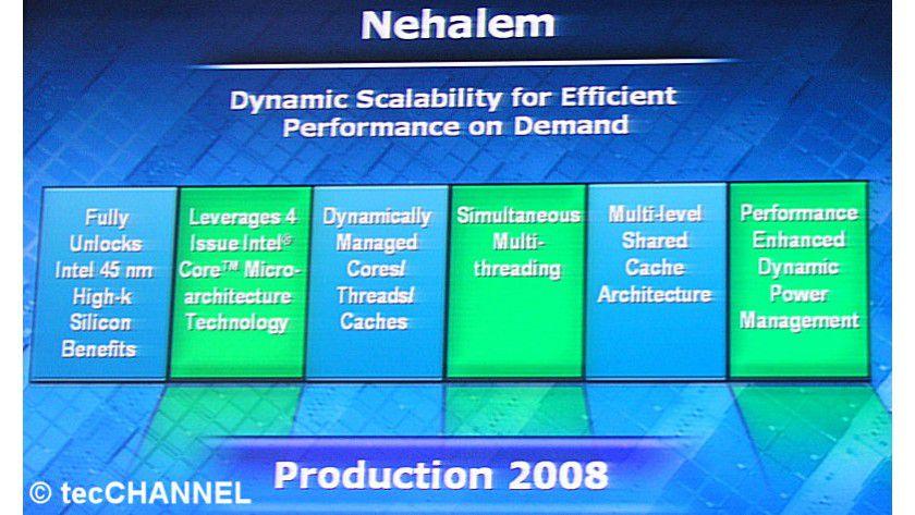 Nehalem: Noch 2008 wird es von Intel 45-nm-Prozessoren mit einer neuen Architektur geben.