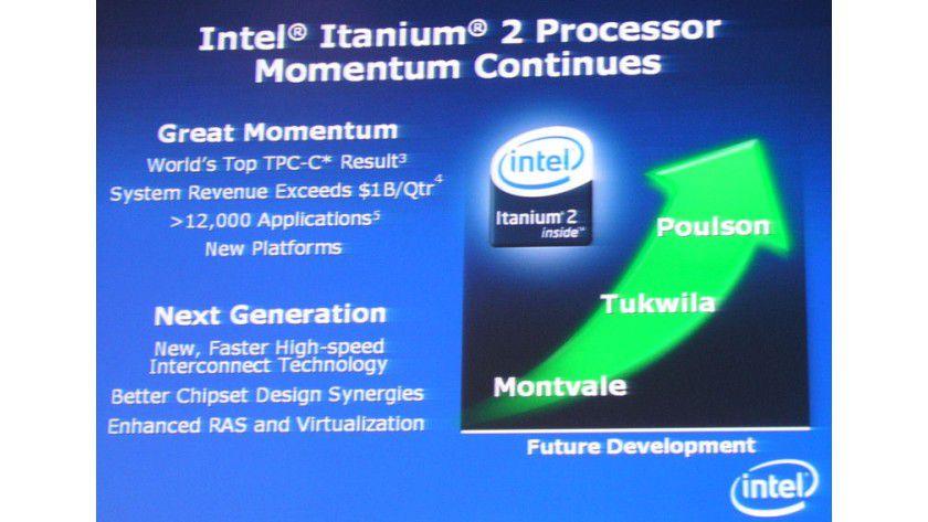 """Er lebt: Intel hält weiter an seinen Itanium-Prozessoren fest. Drei Nachfolge-Generation zu den aktuellen Itanium-9000-CPUs """"Montecito"""" stehen auf der Roadmap."""