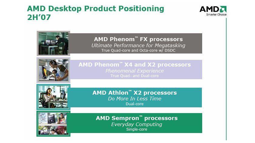 Neuer Name, neues Glück: AMD will mit den K10-Prozessoren Phenom X2, X4 und FX den Core-2-Modellen von Intel das Leben wieder schwer machen. (Quelle: AMD)