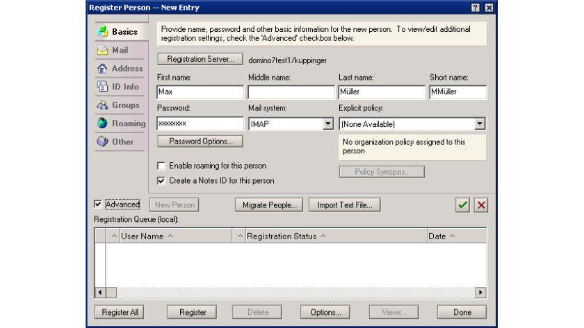 Personalisiert: Für jeden IMAP-Benutzer muss für die Authentifizierung ein Personendokument angelegt werden.