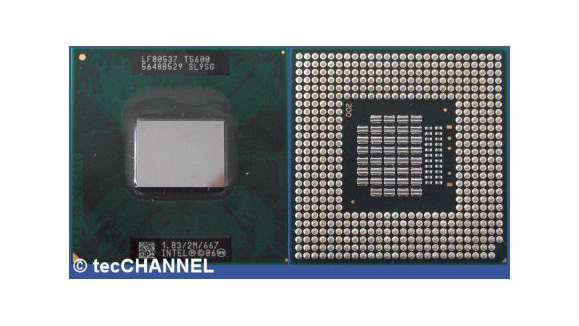 Core 2 Duo T5600: Der 1,83-GHz-Prozessor mit Dual-Core-Technologie verwendet den Socket 479M und arbeitet mit einem FSB667. Beide Kerne greifen auf den gemeinsamen 2 MByte großen L2-Cache zurück.