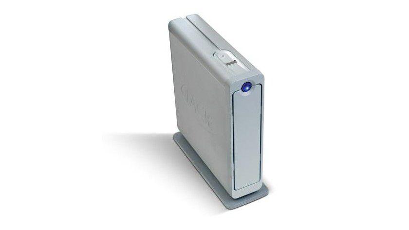 Verschlusssache: Die d2 Safe-Festplatte bietet biometrische Zugriffskontrolle, Hardwareverschlüsselung sowie eine Kettenschlossvorrichtung. (Quelle: LaCie)
