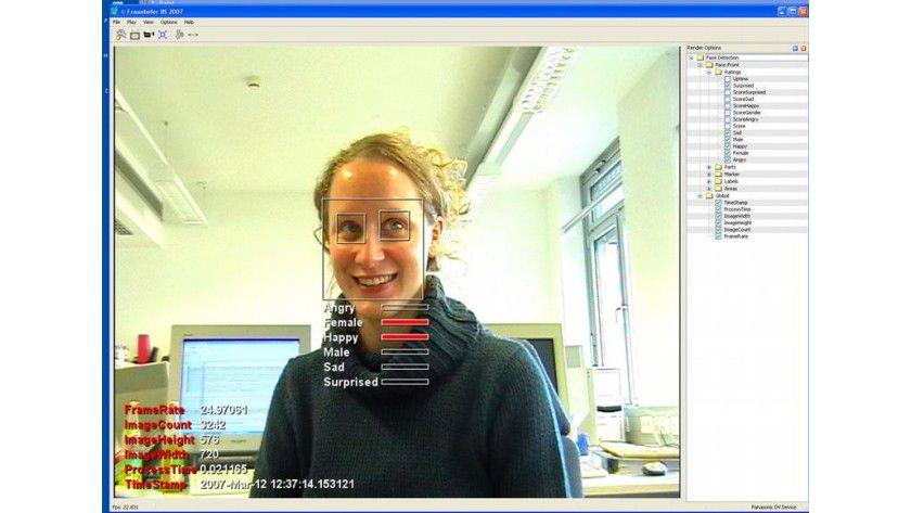 Die Bildverarbeitungssoftware soll sofort herausfinden, ob es sich um Männer oder Frauen handelt und welche Emotion vorherrscht. Abb.: Fraunhofer IIS
