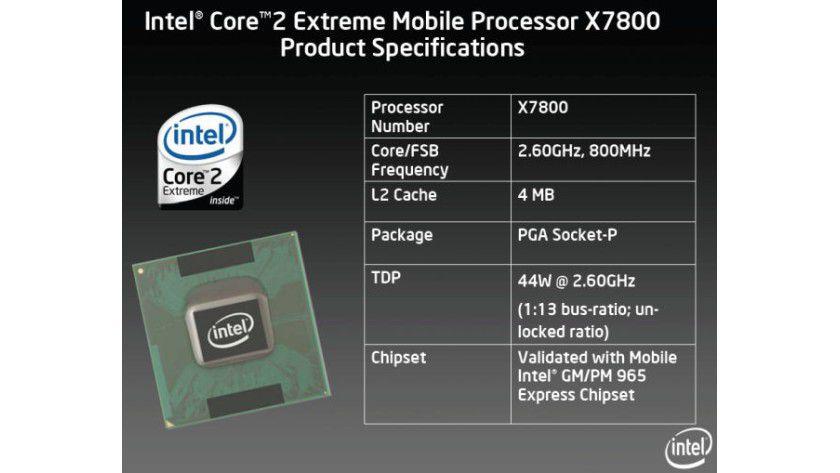 Core 2 Extreme X7800: Der mobile Dual-Core-Prozessor arbeitet mit 2,6 GHz Taktfrequenz und einem FSB800. Den TDP-Wert spezifiziert Intel auf 44 Watt.