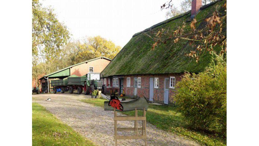 """Auf einem virtuellen Sägebock inmitten eines idyllischen Bauernhofs kann man die Kettensäge """"Cybersaw"""" ausprobieren. Foto: Fraunhofer IGD"""