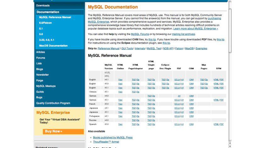 Umfangreich: Die offizielle Dokumentation von MySQL gibt es auch in deutscher Sprache.