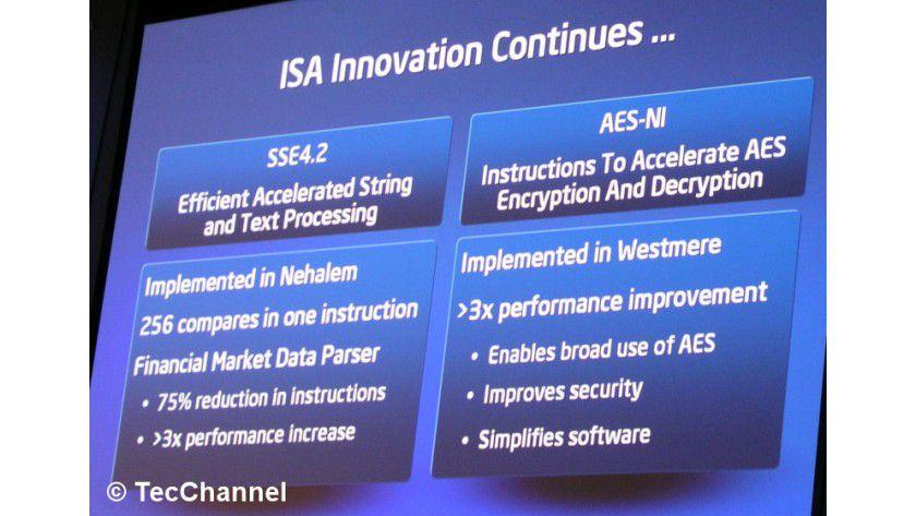 SSE4.2: Bei den Nehalem-Prozessoren erweitert Intel den SSE4-Befehlssatz um sieben neue Instruktionen. Die 2009 folgende 32-nm-Version Westmere beherrscht dann neue AES-Befehle.