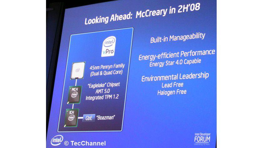 McCreary: Intels dritte vPro-Generation unterstützt AMT 5.0 und integriert ein TPM im Chipsatz Eaglelake.