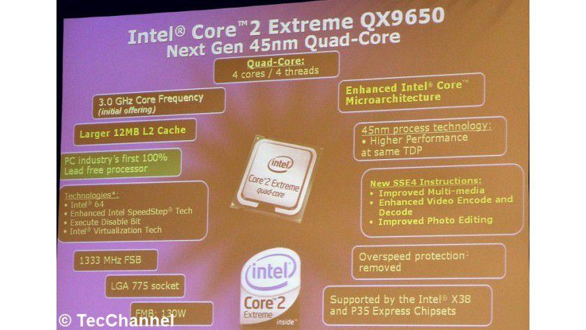 Penryn-Premiere im Desktop-PC: Der Core 2 Extreme QX9650 wird am 12. November 2007 Intels erster 45-nm-Desktop-Prozessor sein.