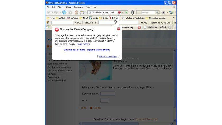 Vorsicht, Falle: Firefox 2.0.0.7 warnt vor der gefälschten Seite.