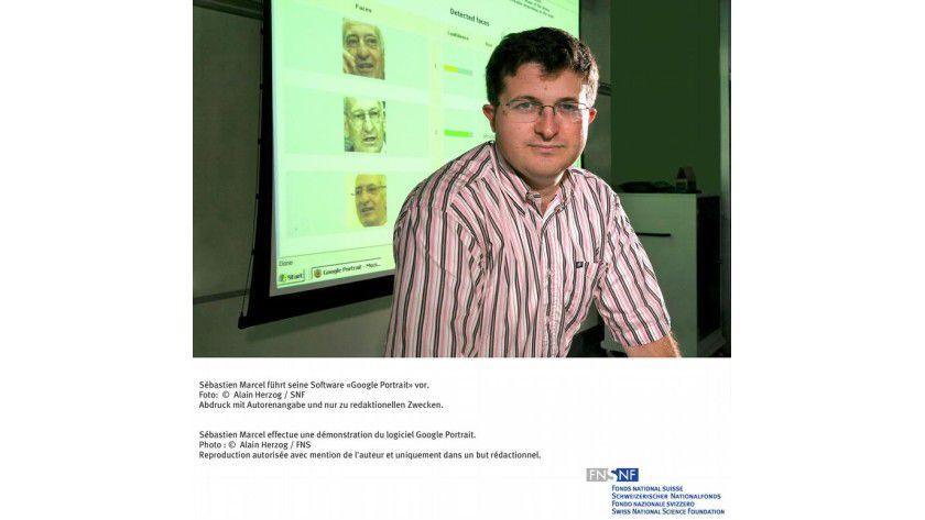 Sébastien Marcel führt seine Software 'Google Portrait' vor. Foto: Alain Herzog, SNF