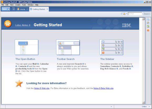 Neu: Auf der Seite Getting started werden Informationen zu den wichtigsten Neuerungen geliefert.