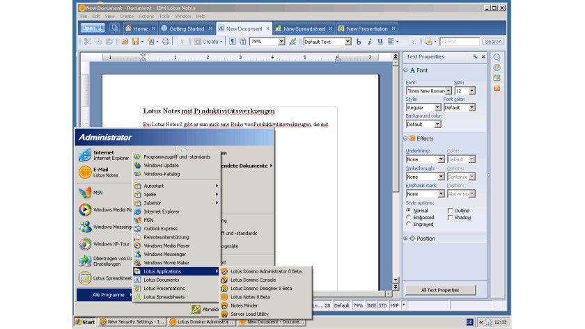 Integriert: Gemeinsam mit Lotus Notes 8 können die auf OpenOffice basierenden Produktivitätswerkzeuge für Textverarbeitung, Tabellenkalkulation und Präsentation installiert werden.