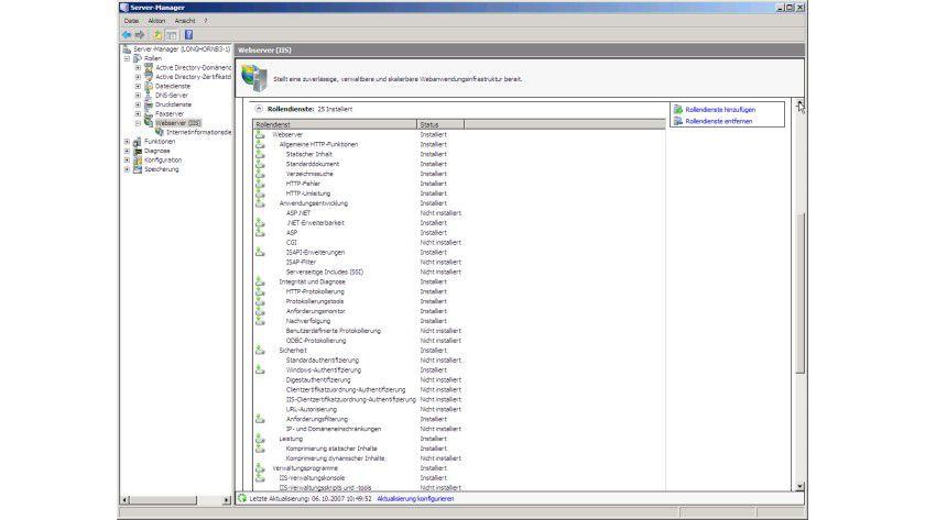 Granular: Die IIS 7 sind die Rolle des Windows Server 2008, für die die meisten Rollendienste ausgewählt werden können.