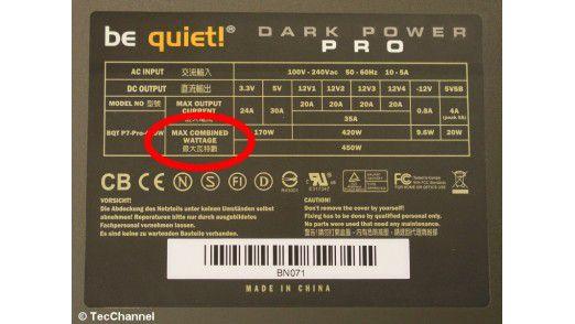 Combined Power: Der 3,3- und der 5-V-Spannungszweig müssen sich eine gemeinsame elektrische Leistung von maximal 185 W teilen.
