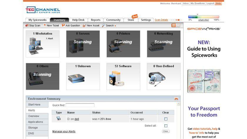 Inventory: Nach einem Scan des Netzwerks kann der Anwender auf entsprechende Informationen über Hardware und Software der Systeme zugreifen.