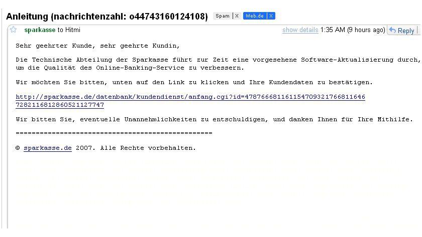 Täuscht fast: Aktuelle Phishing-Mail im angeblichen Auftrag der Sparkassen.