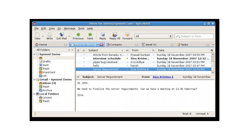 Standard: Das E-Mail-Postfach von SpiceBird (Quelle: Synovel)