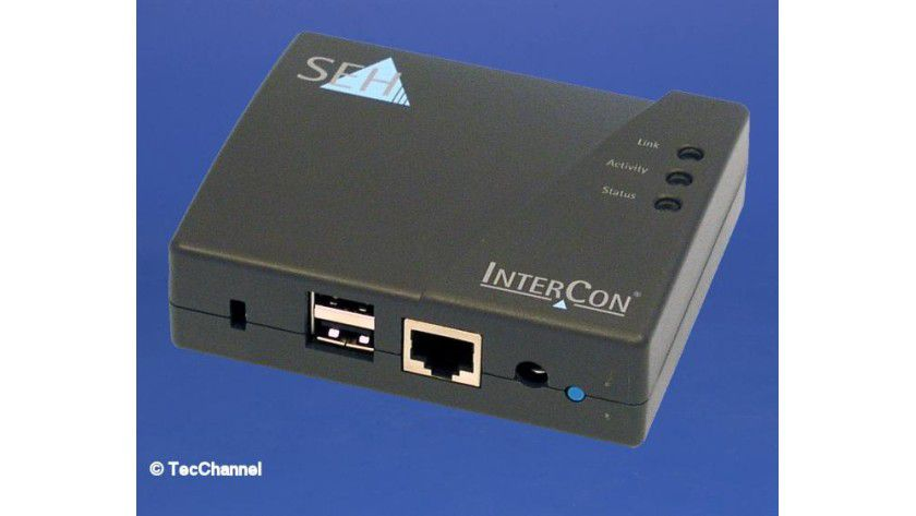 Printserver PS03a: Der kleine Printserver verfügt über zwei USB-Ports zur Einbindung entsprechender Peripherie in Netzwerke.
