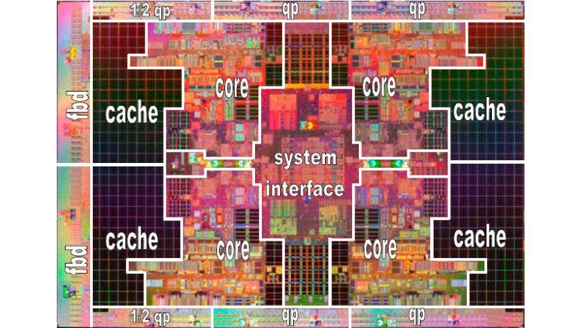 """Flurplan: Intels Quad-Core-Itanium """"Tukwila"""" breitet sich auf 699 mm² Siliziumfläche aus. Dabei verbaut der Hersteller die Rekordzahl von 2,05 Milliarden Transistoren. (Quelle: Intel)"""