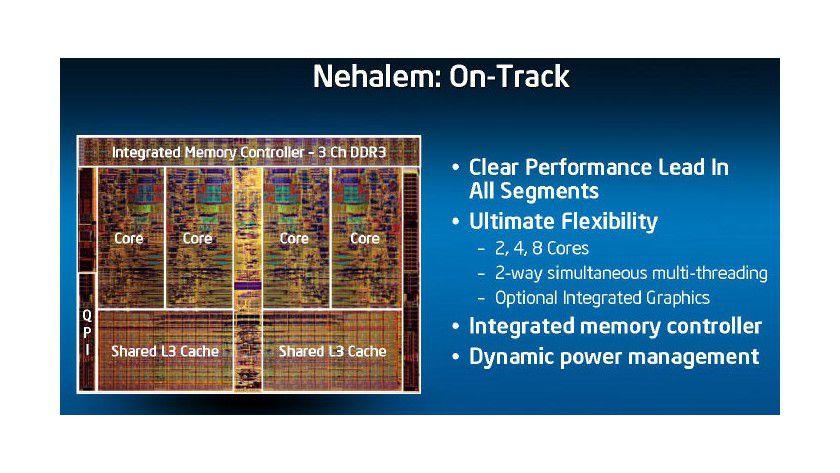 Nehalem: Den vier Kernen stehen drei integrierte DDR3-Speicher-Channels sowie ein gemeinsamer L3-Cache zur Verfügung. (Quelle: Intel)