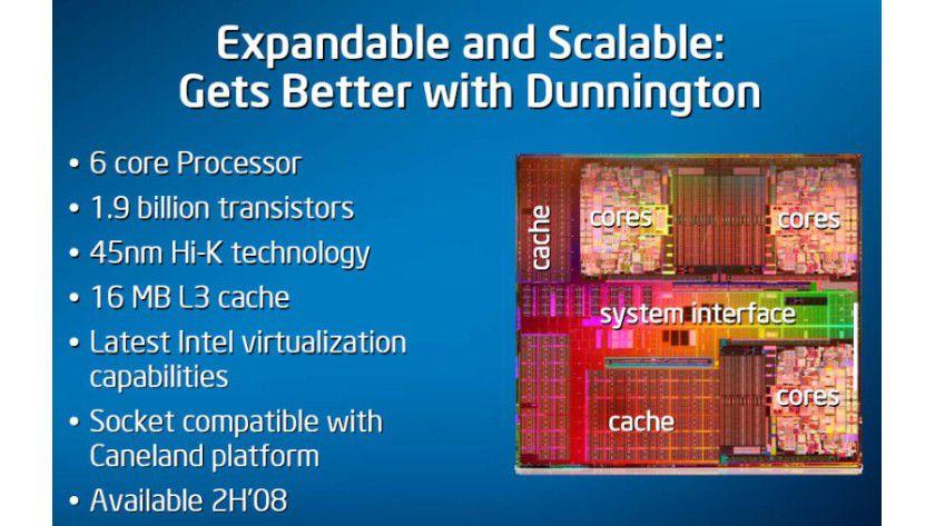 """Erster 6-Core-Prozessor: Der Xeon MP """"Dunningten"""" vereint sechs Kerne auf einem Siliziumplättchen. (Quelle: Intel)"""